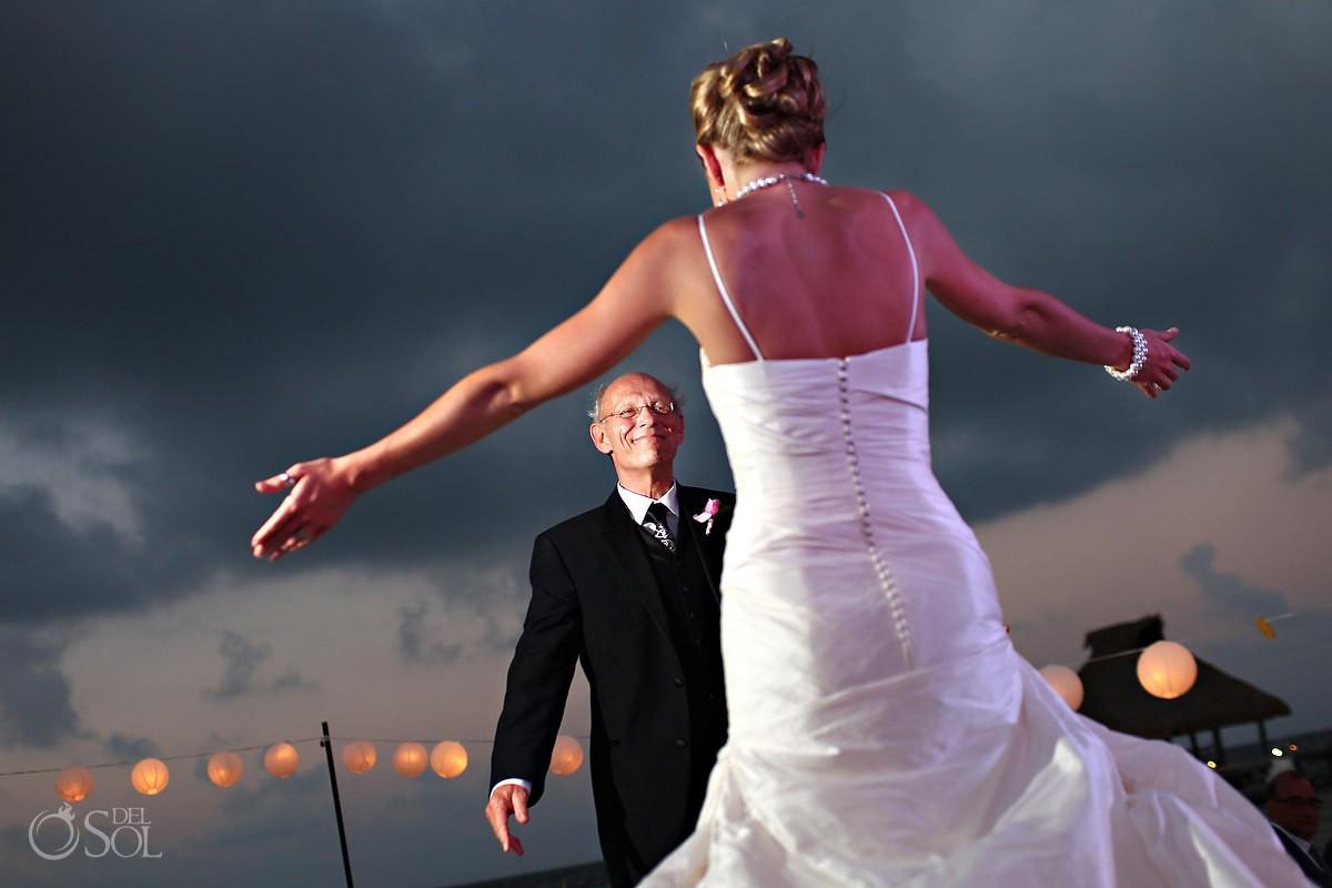 destination wedding photo of father daughter dance at zoetry pairiso de la bonita hotel