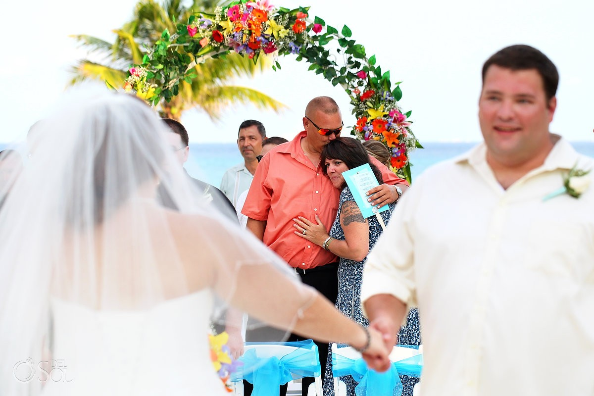 father crying at destination beach wedding at Riu Palace Riviera Maya