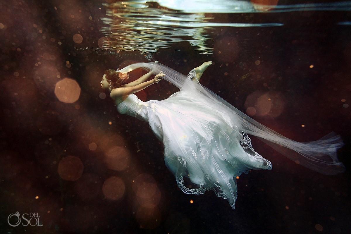 Underwater Wedding Photo riviera maya trash the dress
