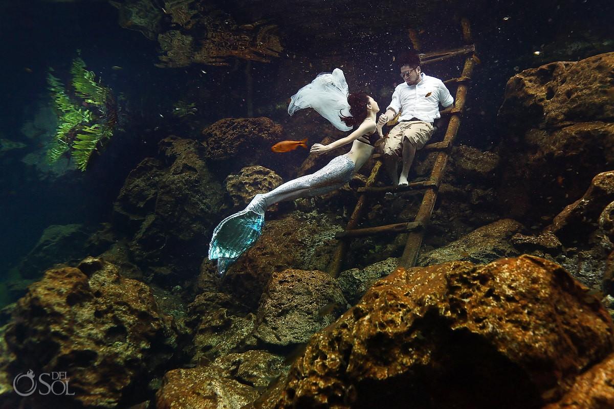 Underwater Wedding Photography mermaid bride riviera maya trash the dress