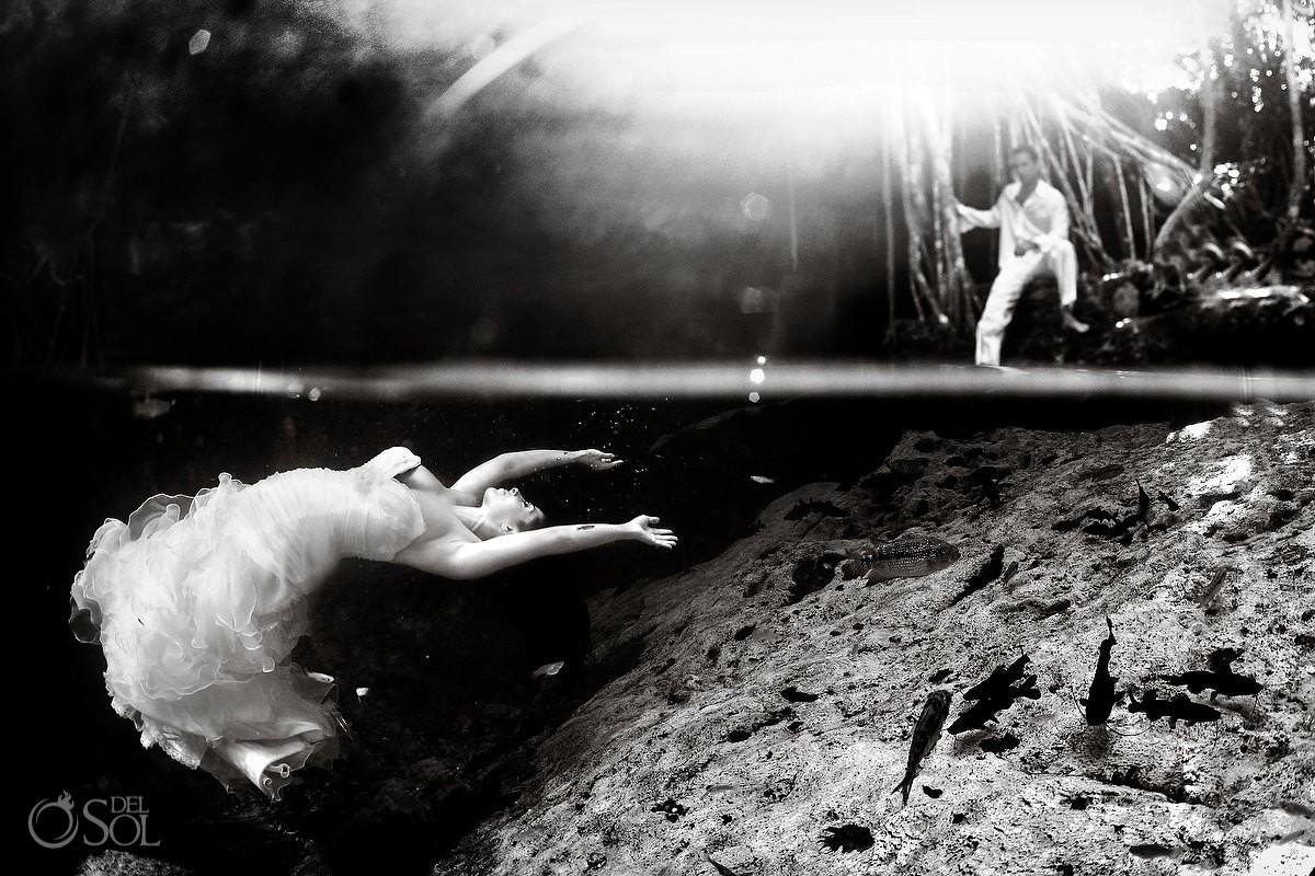 Underwater Wedding Photograph trash the dress