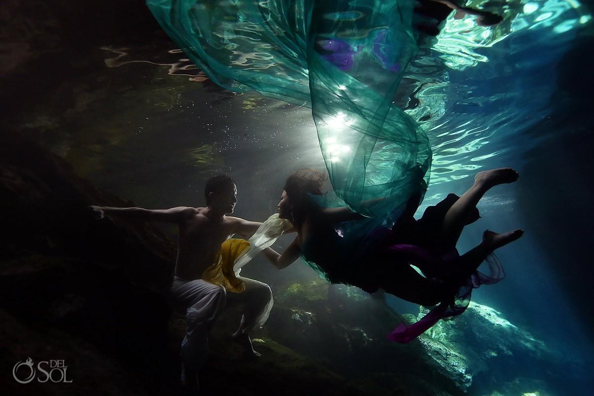 Underwater Wedding Photography riviera maya trash the dress