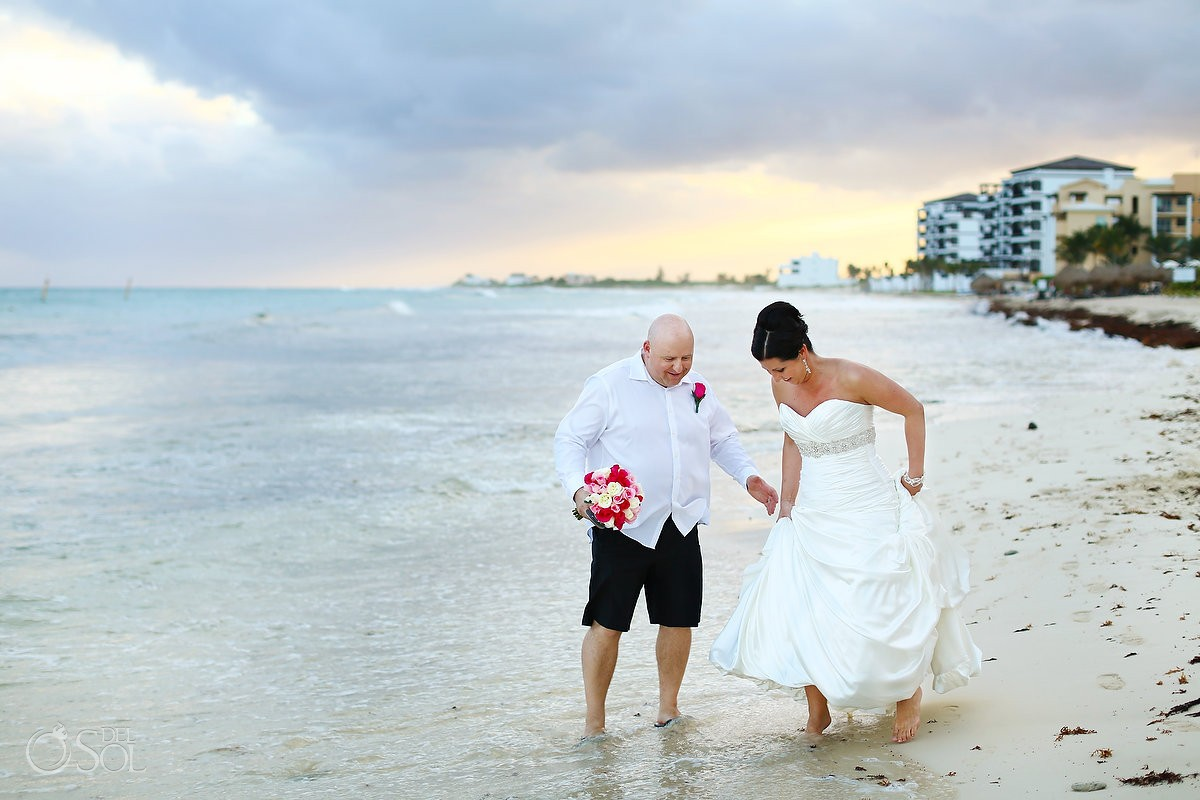 bride and groom beach portrait at now jade riviera cancun