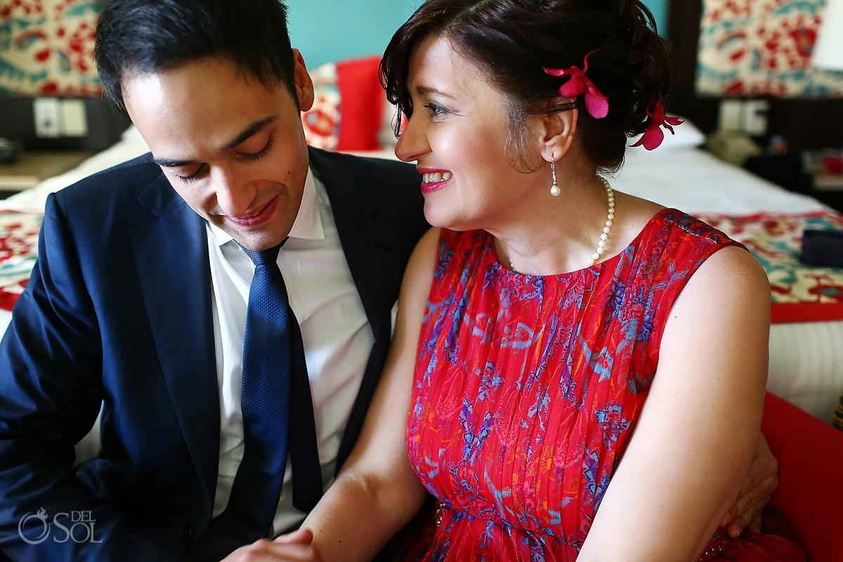 Destination wedding at Now Jade Riviera Maya getting ready parents