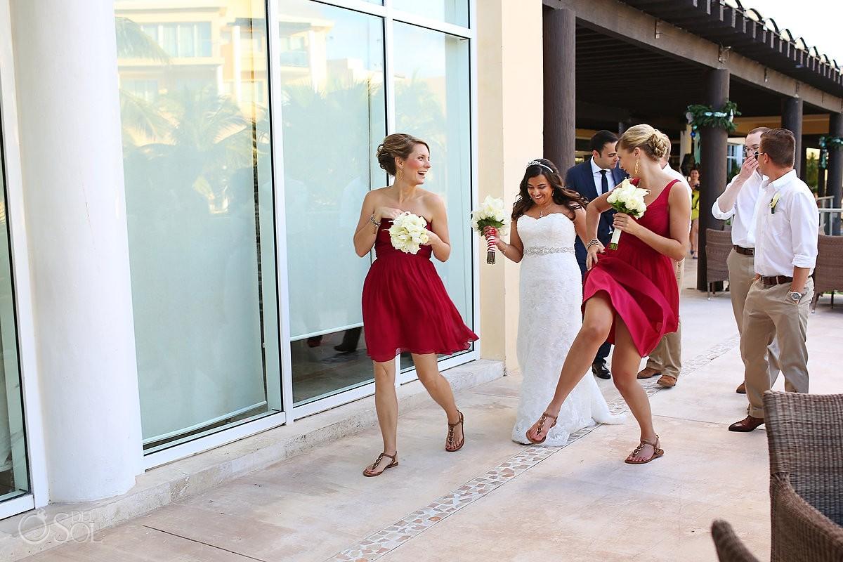 Destination wedding Now Jade Riviera Maya bride bridesmaids