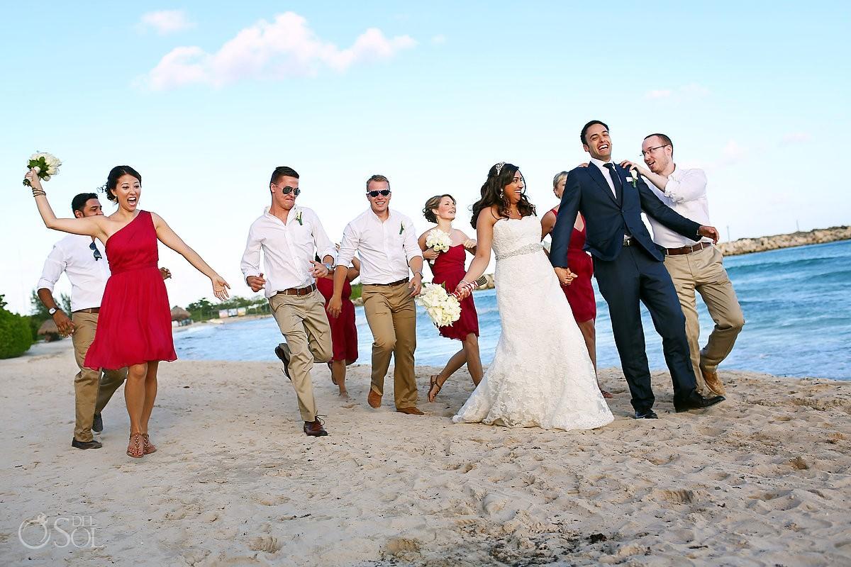 Destination wedding beach Now Jade Resort Riviera Maya bridal party