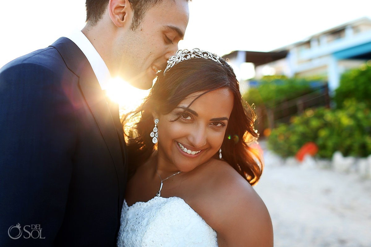 Destination wedding Now Jade Resort newlyweds portrait Riviera Maya beach