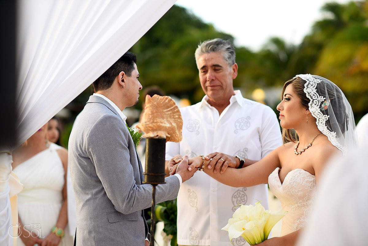 Beach destination wedding at The Reef Playacar Playa del Carmen Mexico