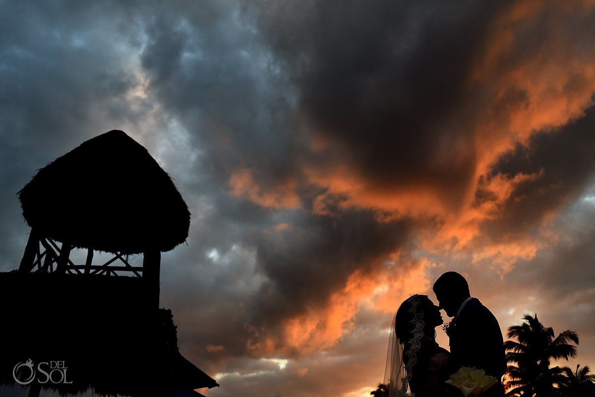 The Reef Playacar wedding newlyweds sunset Playa del Carmen Mexico