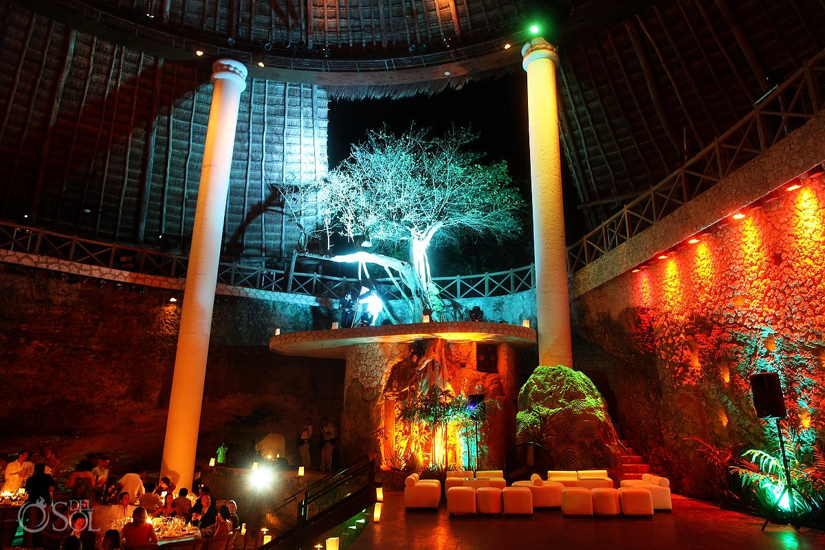 amazing space at the wedding reception for 200+ guests at La Isla restaurant Xcaret Park Riviera Maya Mexico