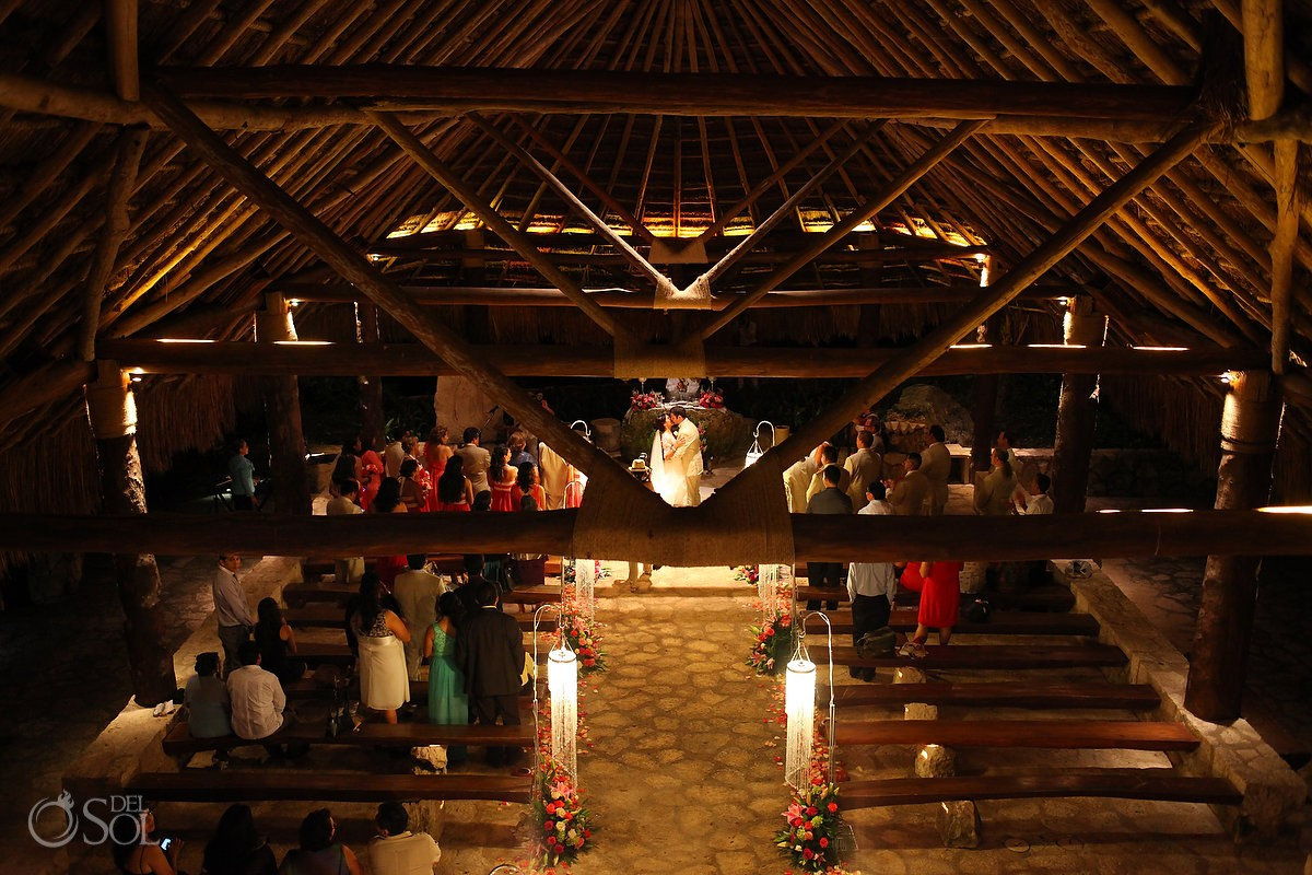 Catholic wedding ceremony Saint Francis of Assisi Chapel Xcaret theme park, Playa del Carmen, Mexico