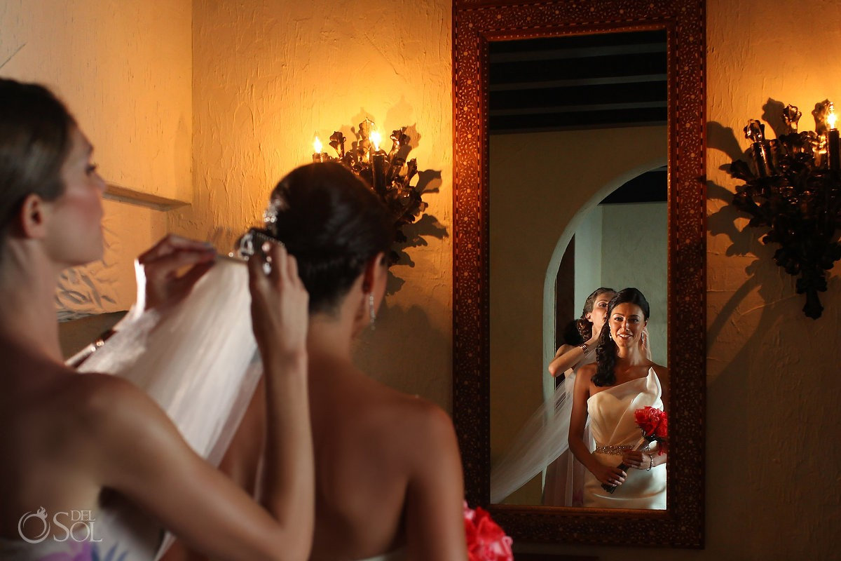 Bride getting ready destination wedding Zoetry Riviera Maya