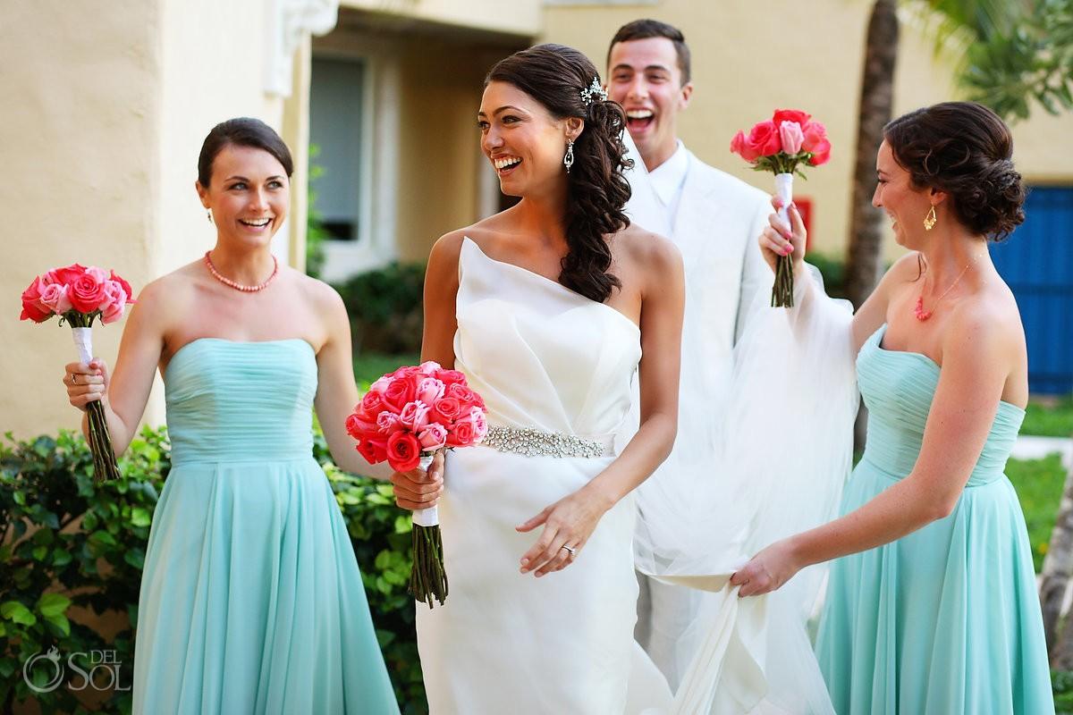 Destination wedding bride smiles Zoetry Riviera Maya