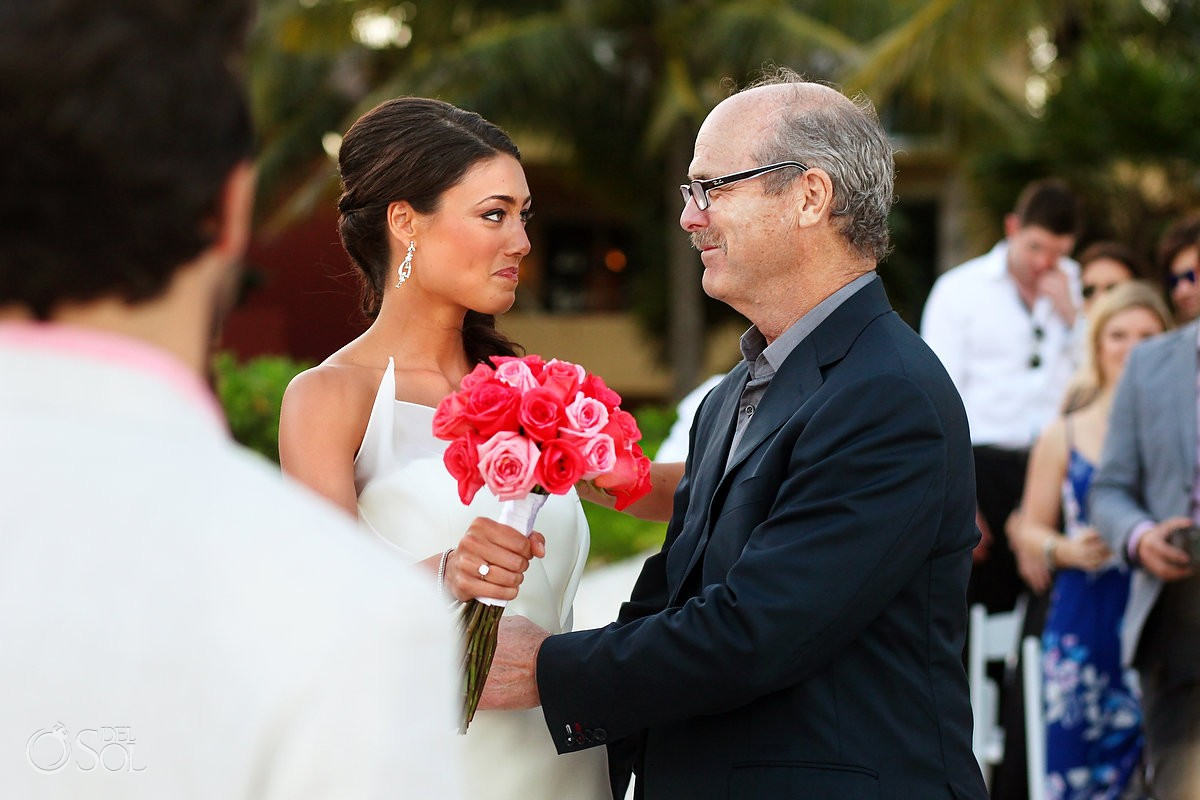 Father gives away bride destination wedding Riviera Maya Zoetry