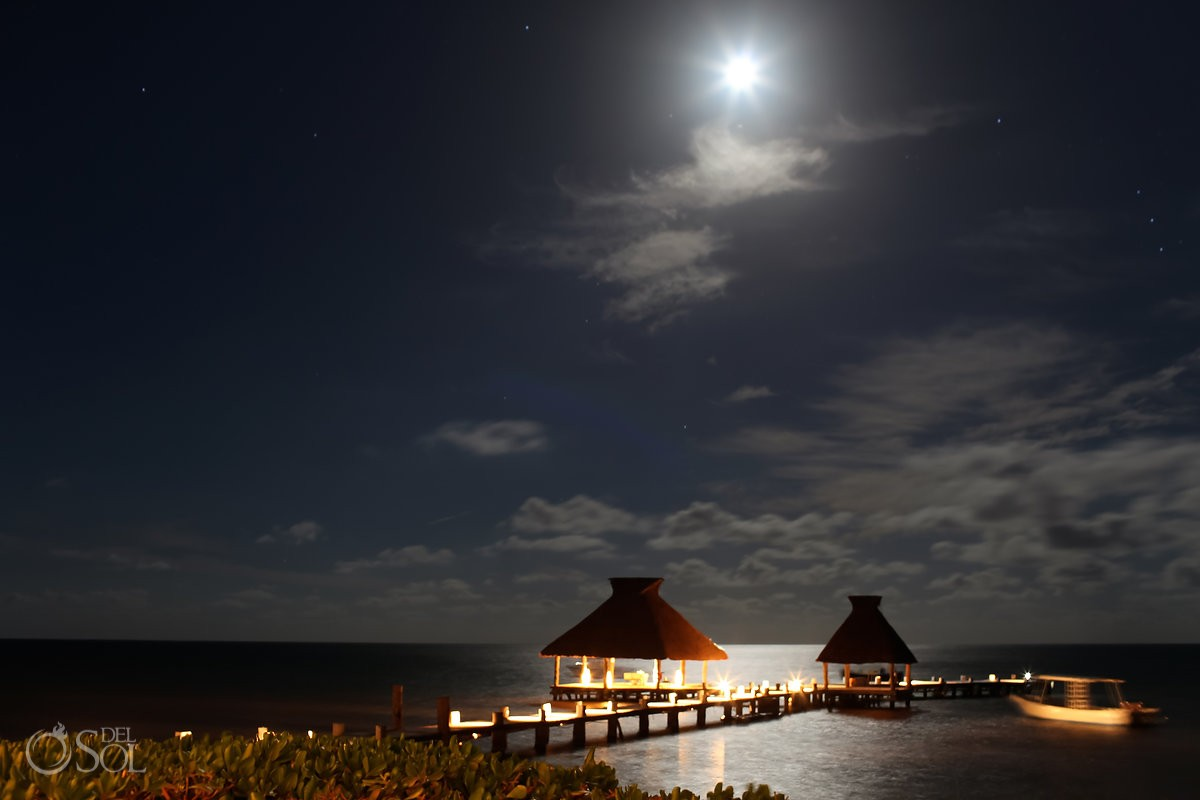 Zoetry Riviera Maya pier with full moon