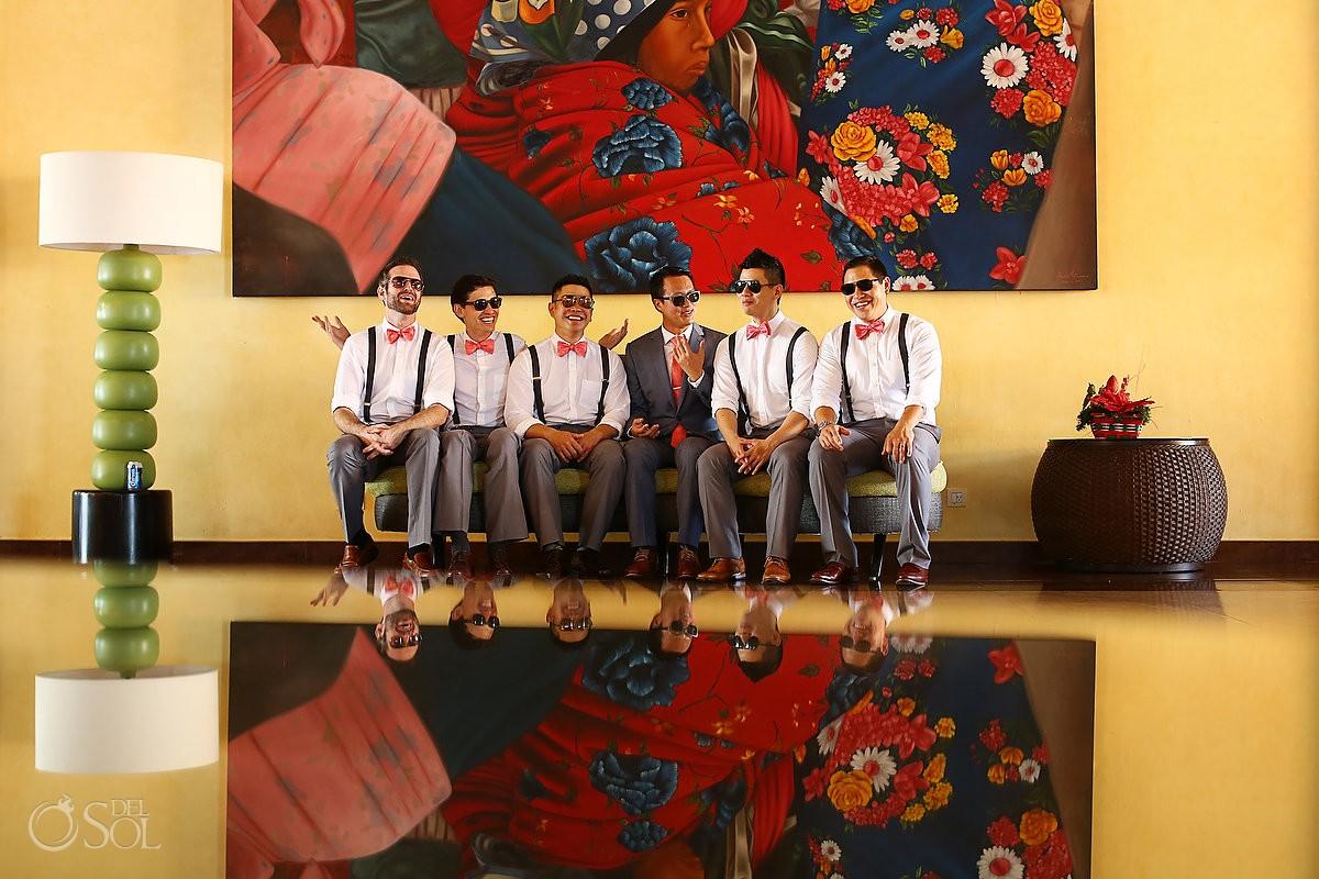 Barcelo Maya destination wedding party groomsmen Riviera Maya Mexico