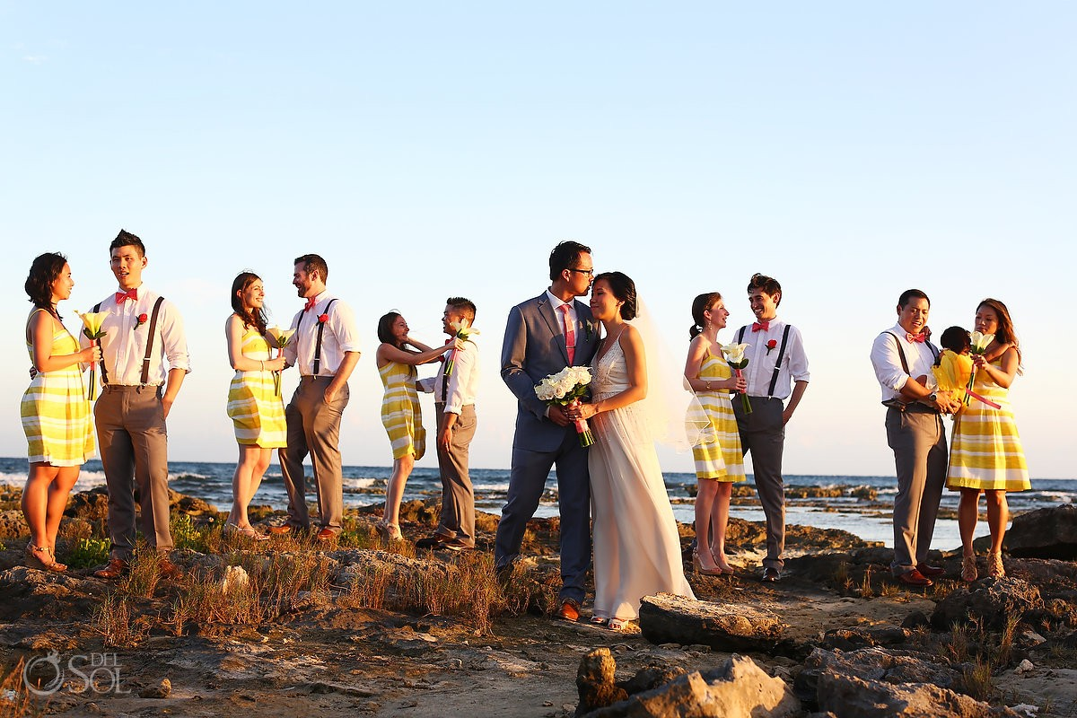 Barcelo Maya wedding party portrait beach