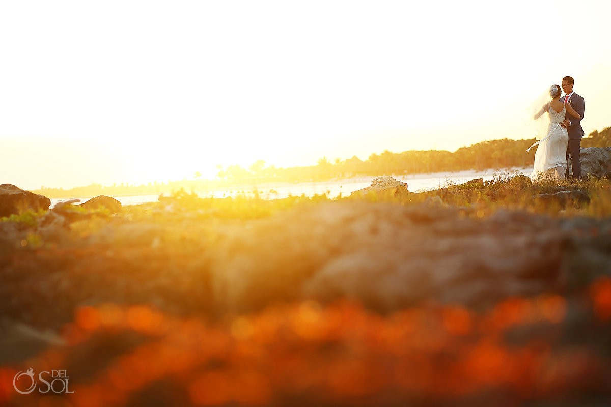 Barcelo Maya wedding newlyweds sunset beach