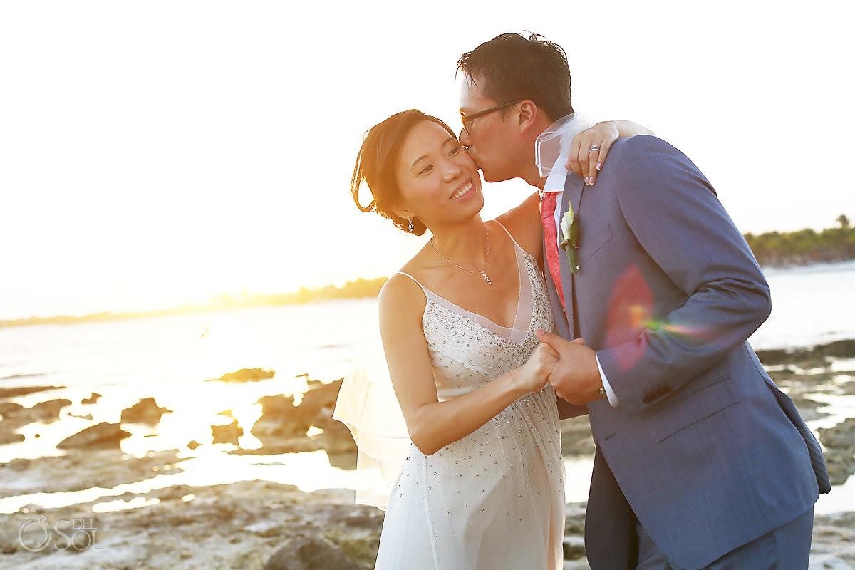 Barcelo Maya wedding newlyweds portrait beach