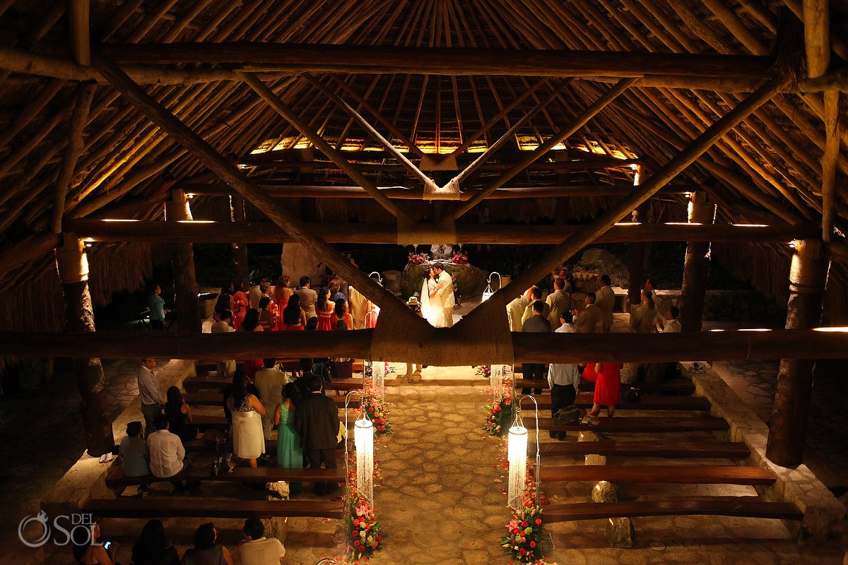 Xcaret Park church St. Francis of Assisi Catholic wedding Ceremony