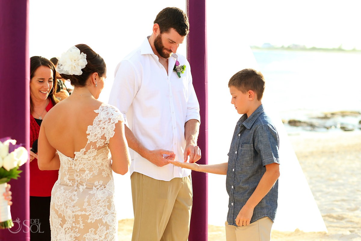 Riviera Cancun wedding Now Jade ceremony ring bearer