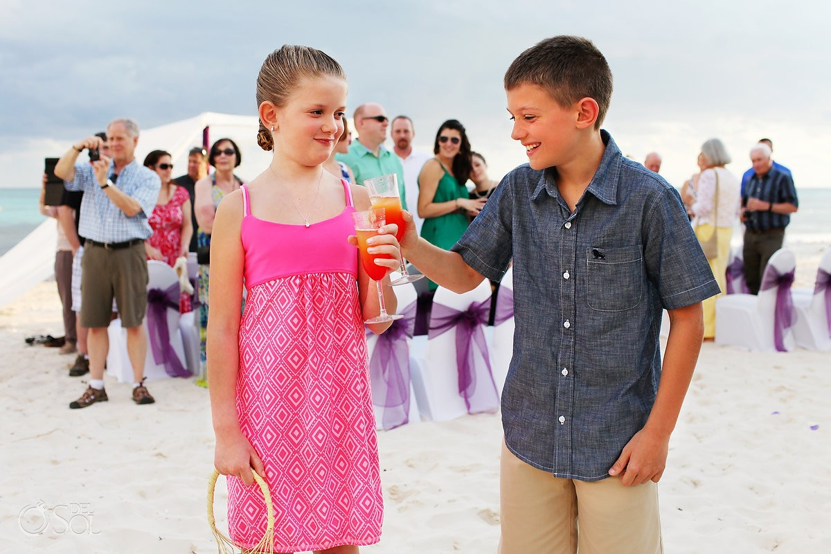 Riviera Cancun wedding ring bearer flower girl beach