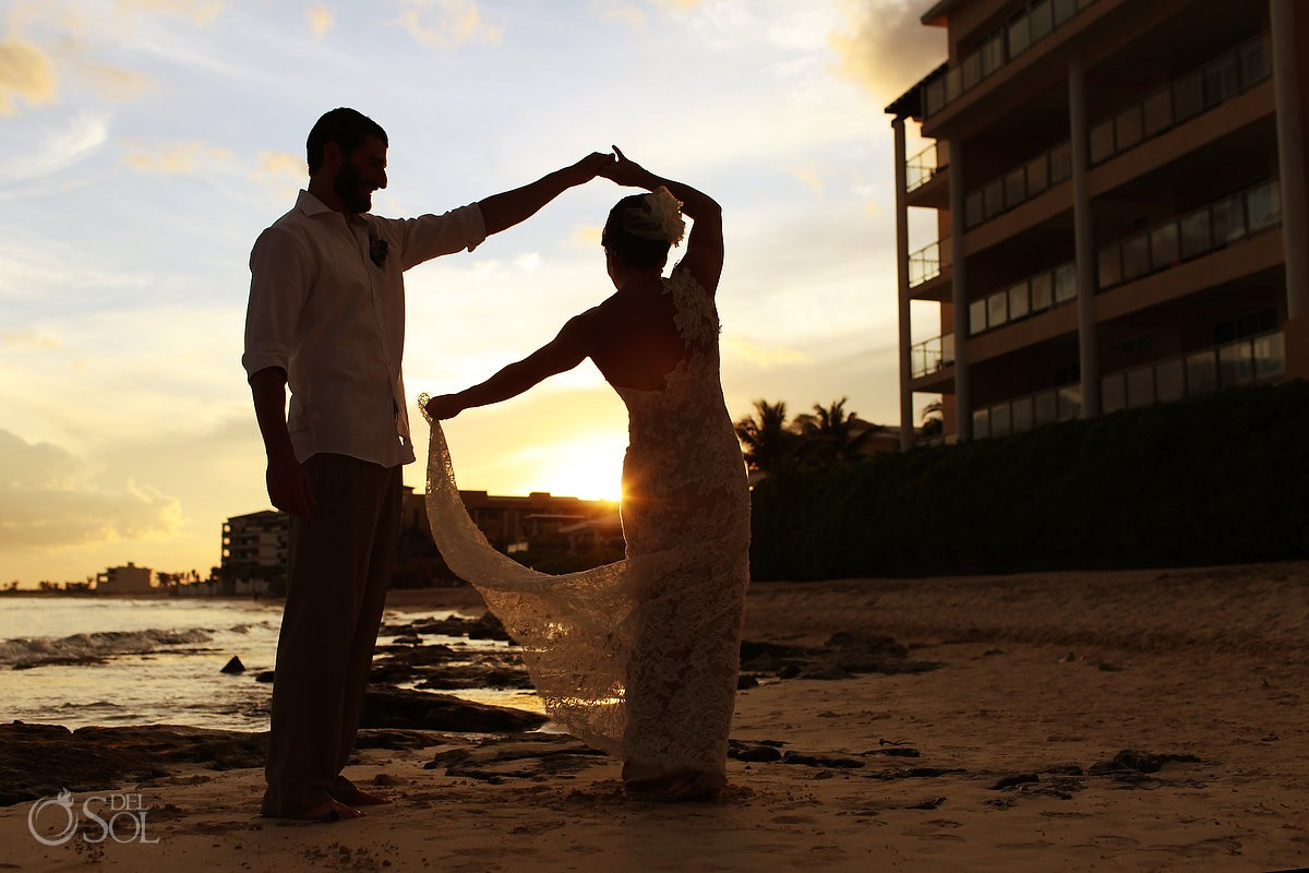 Riviera Cancun wedding beach sunset bride groom