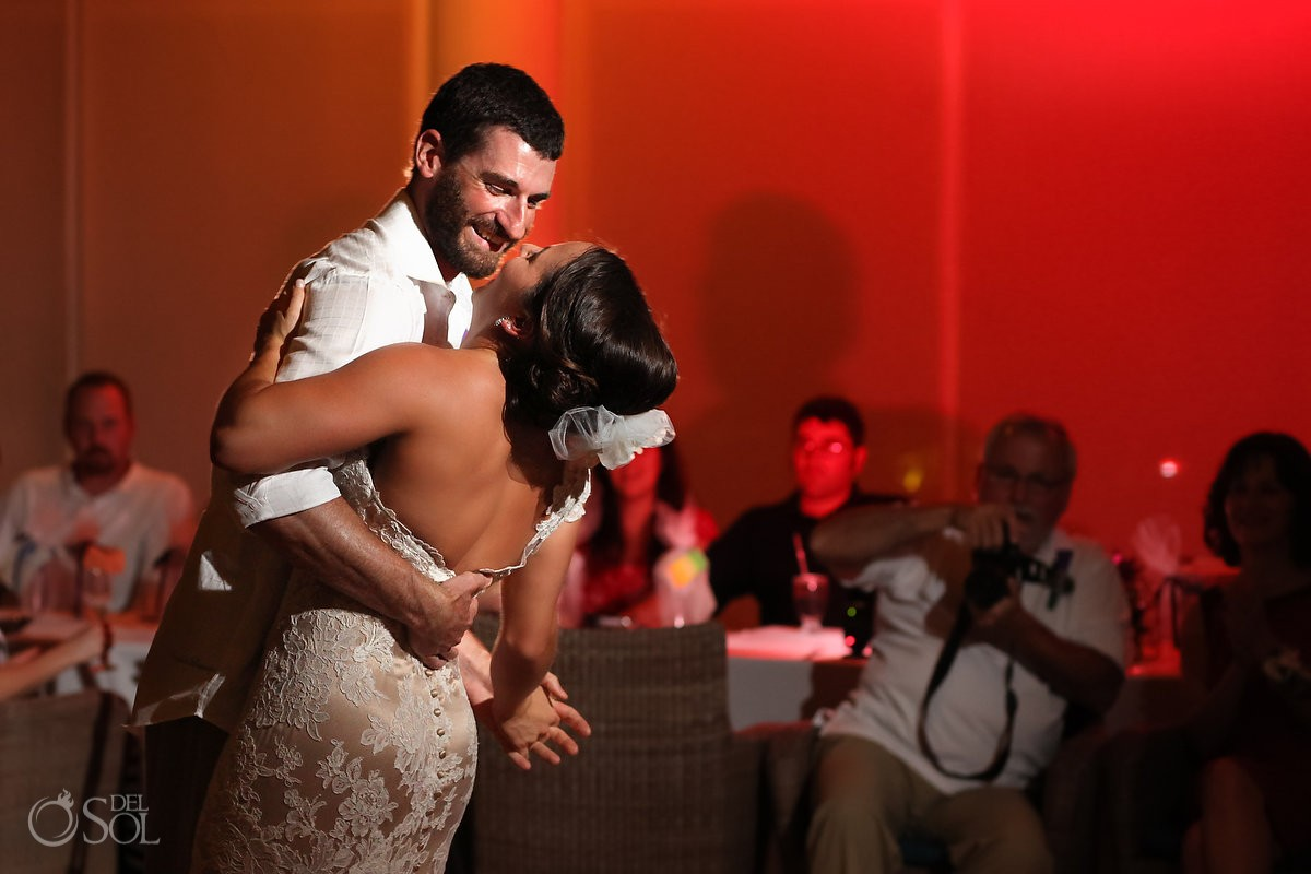 Riviera Cancun wedding bride groom dance Now Jade