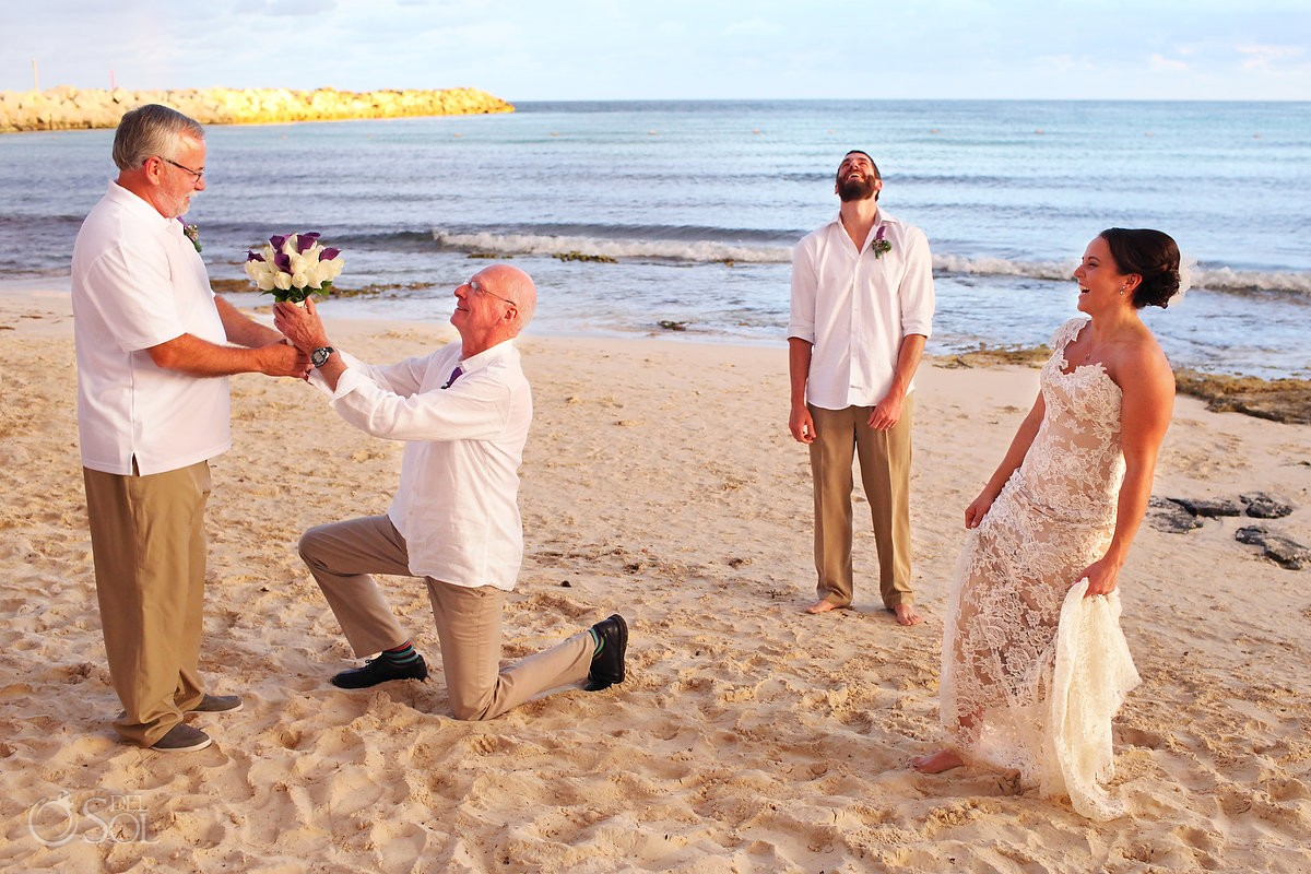 Riviera Cancun wedding beach bride groom fun