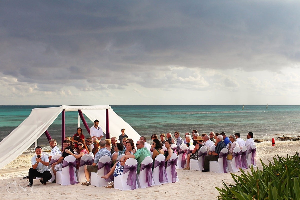 Wedding Riviera Cancun ceremony set-up on the beach at Now Jade
