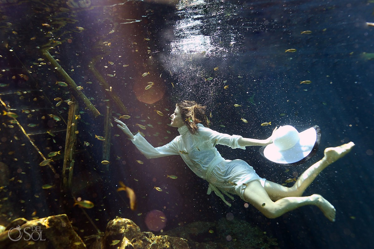 Lingerie cenote underwater boudoir fashion shoot Britta Ushkamp and Lauren LoGiudice