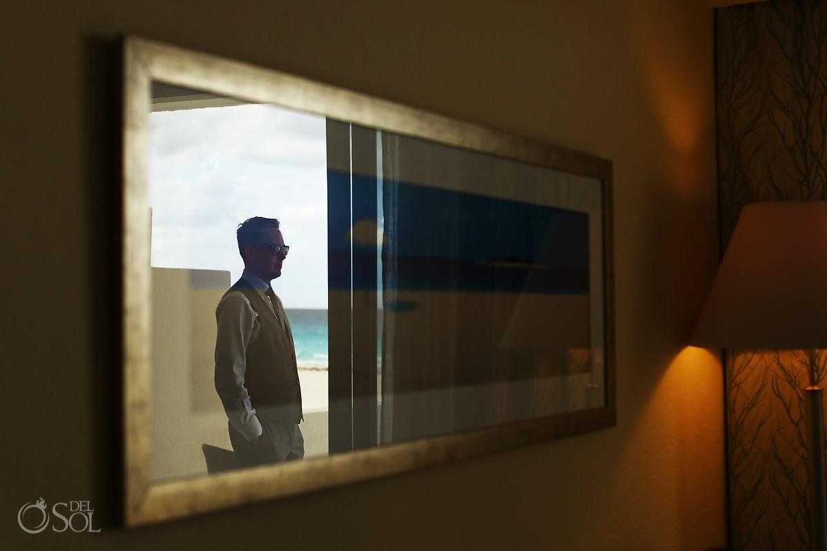 Destination wedding Iberostar Cancun groom getting ready