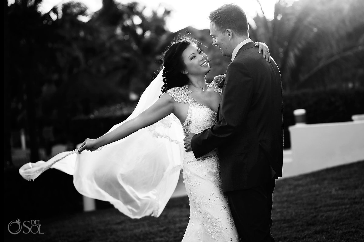 Destination wedding Iberostar Cancun newlyweds portrait black and white