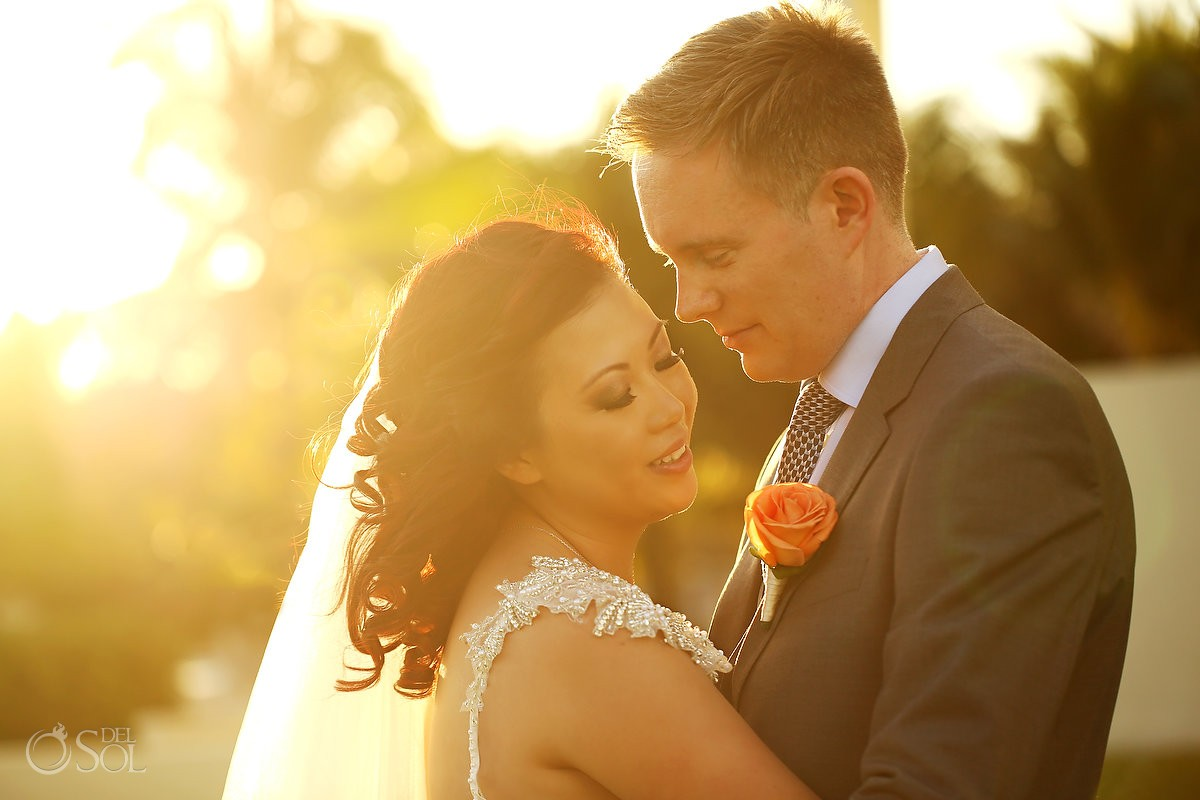 Destination wedding Iberostar Cancun sunset newlywed portrait