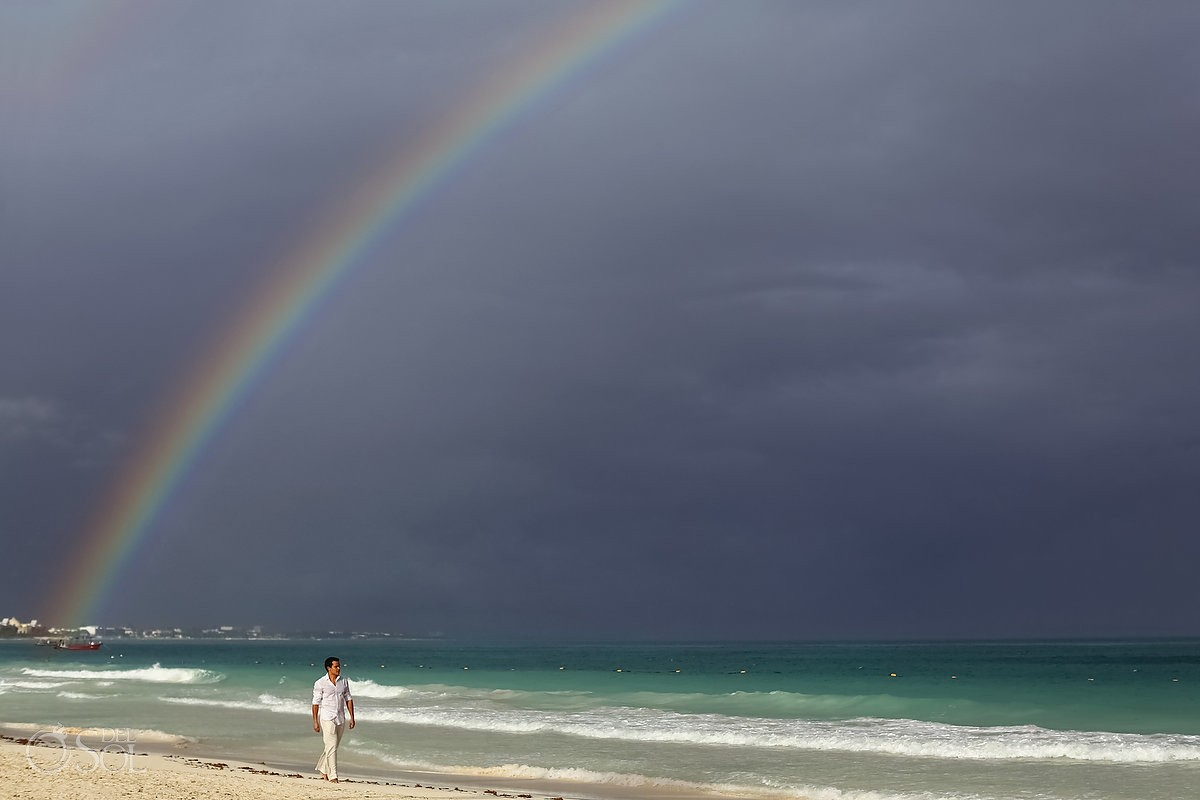 Rainbows at weddings in the riviera maya are amazing