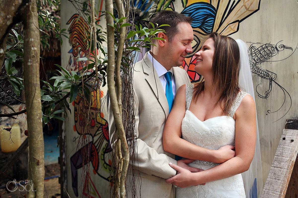 Bride and groom cenote portrait