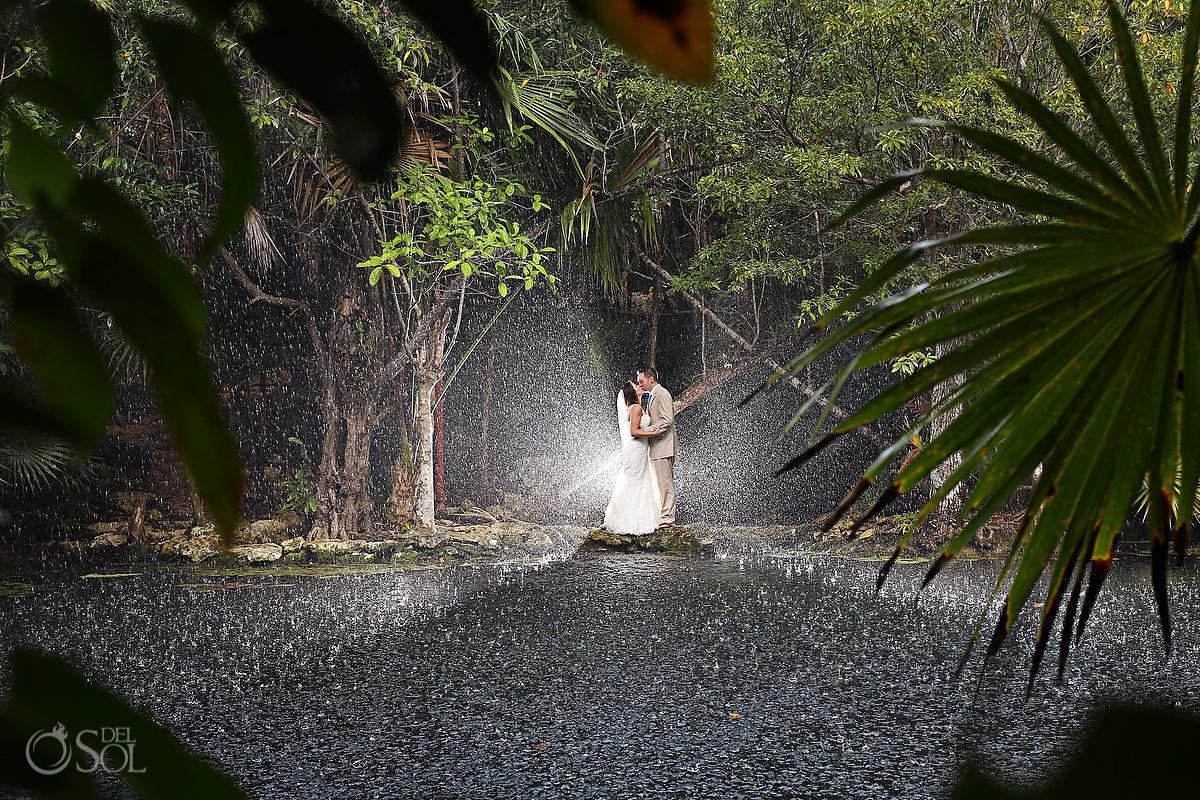 Bride and Groom Portrait in the Rain