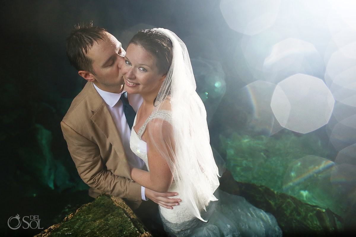Cenote cave trash the dress underwater