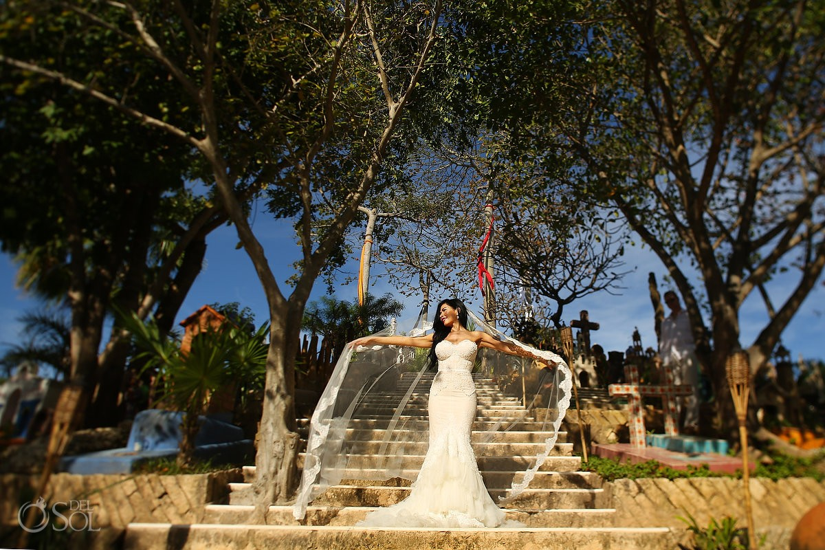 Bride portrait in the cemetery of Xcaret theme park, Playa del Carmen, Mexico