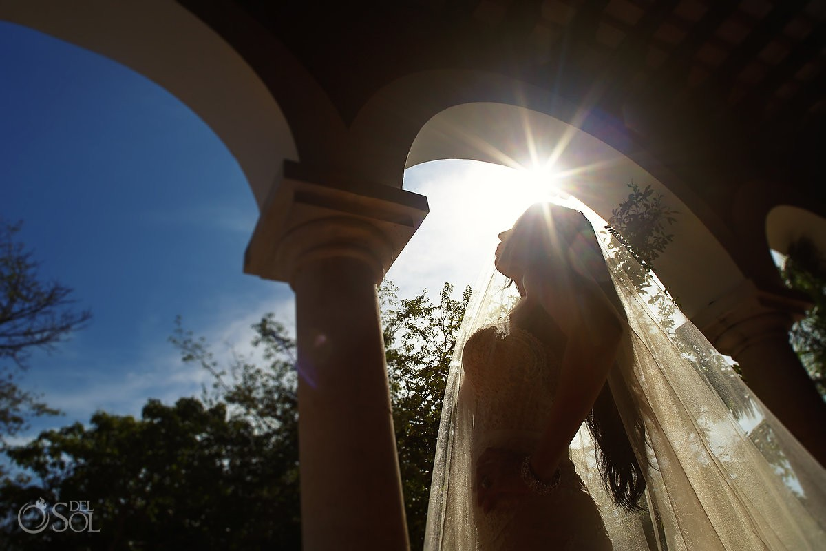 Bride wedding portrait at the Henequen Hacienda, Xcaret Park, Riviera Maya, Mexico