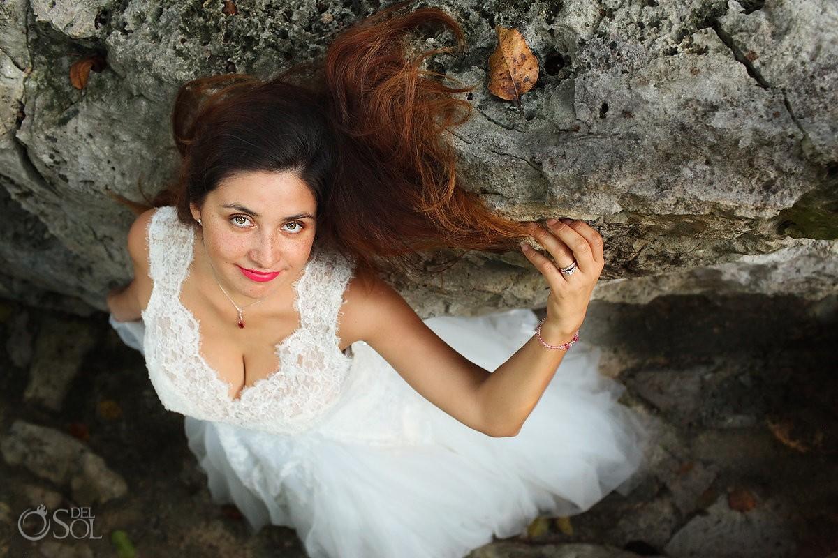 Riviera Maya trash the dress bride cenote rocks