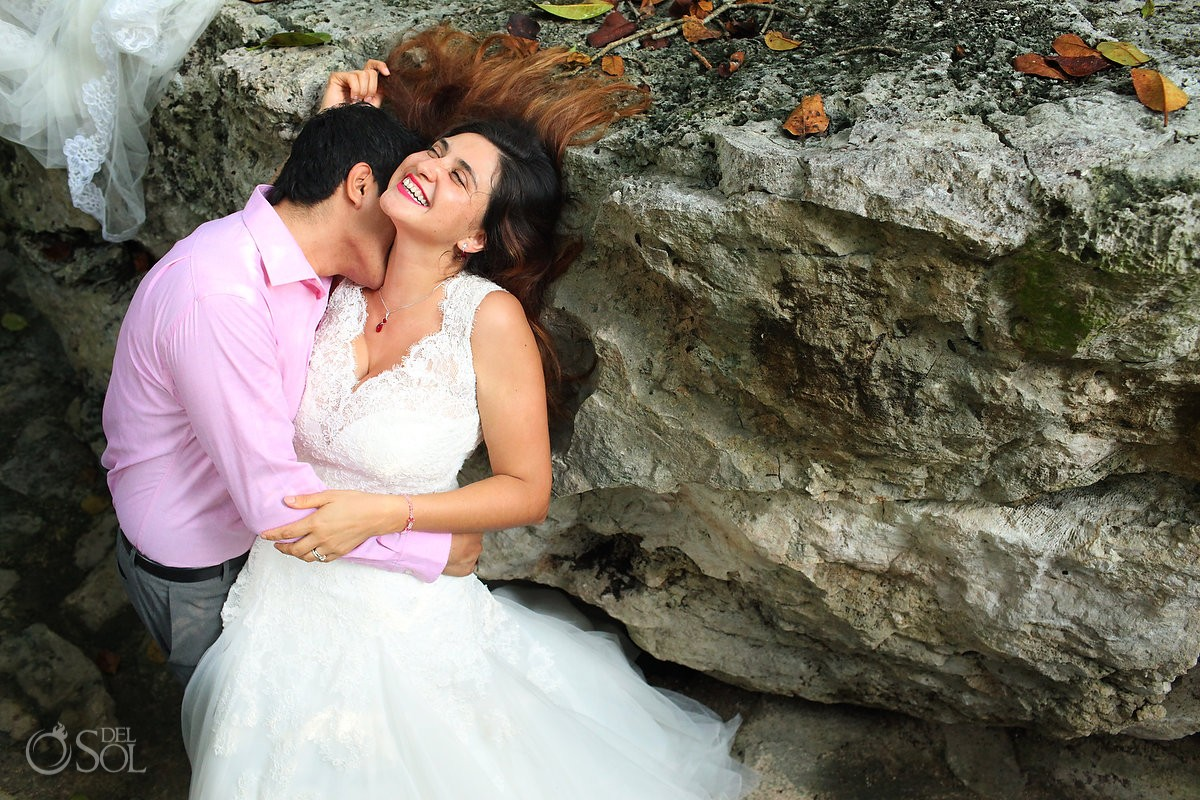 Riviera Maya trash the dress bride groom rocks cenote