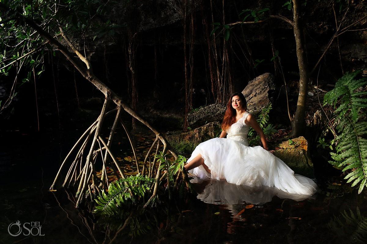 Riviera Maya trash the dress bride cave cenote