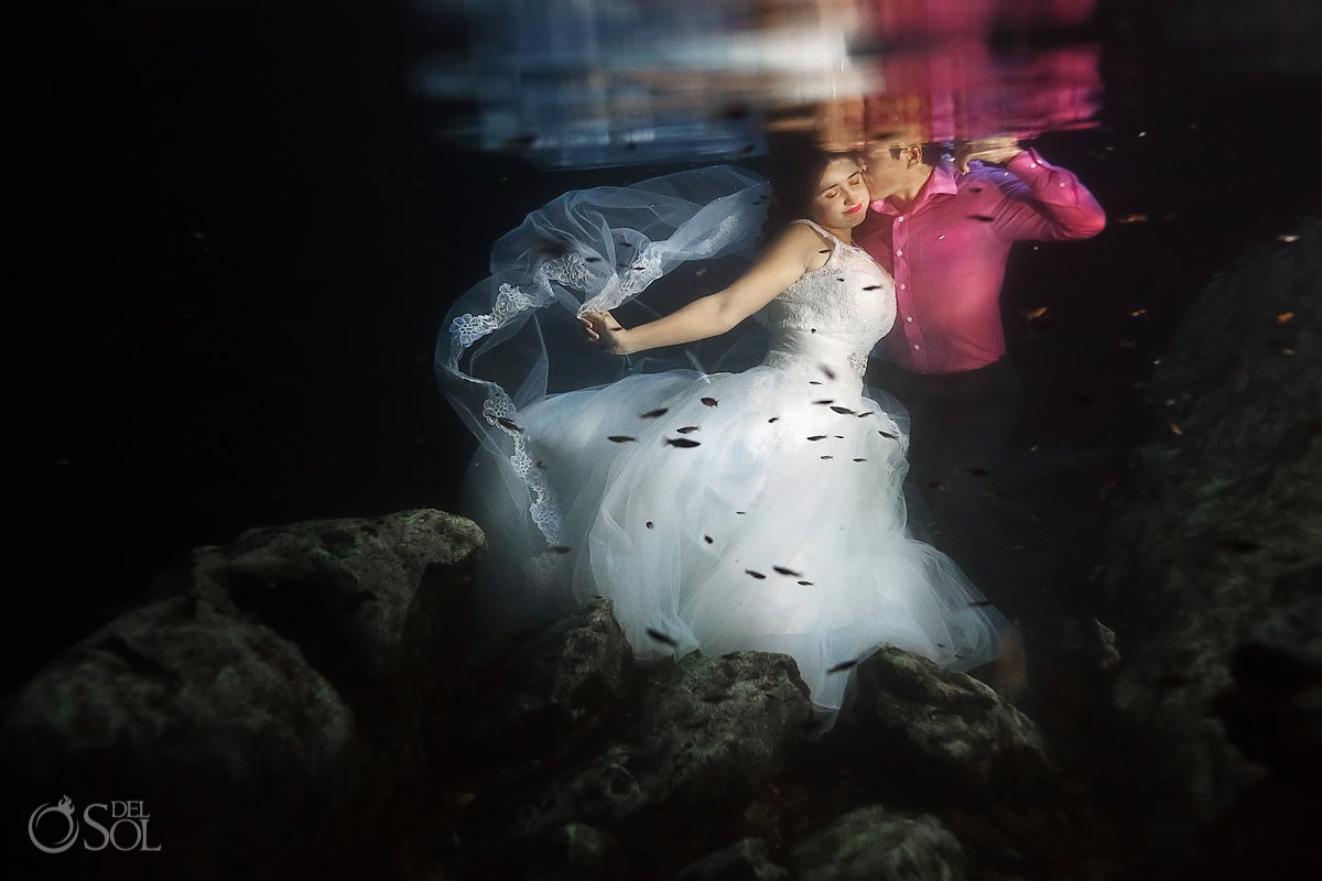 Riviera Maya trash the dress underwater bride groom cenote