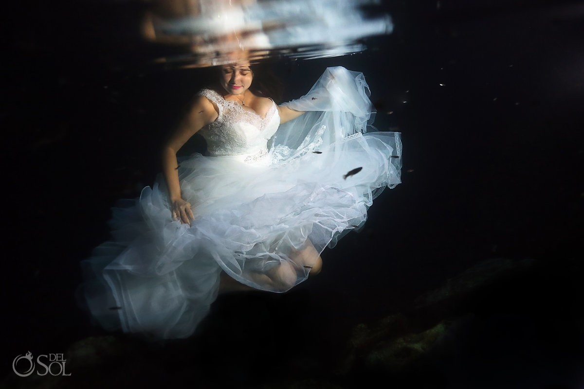Riviera Maya trash the dress underwater bride cenote