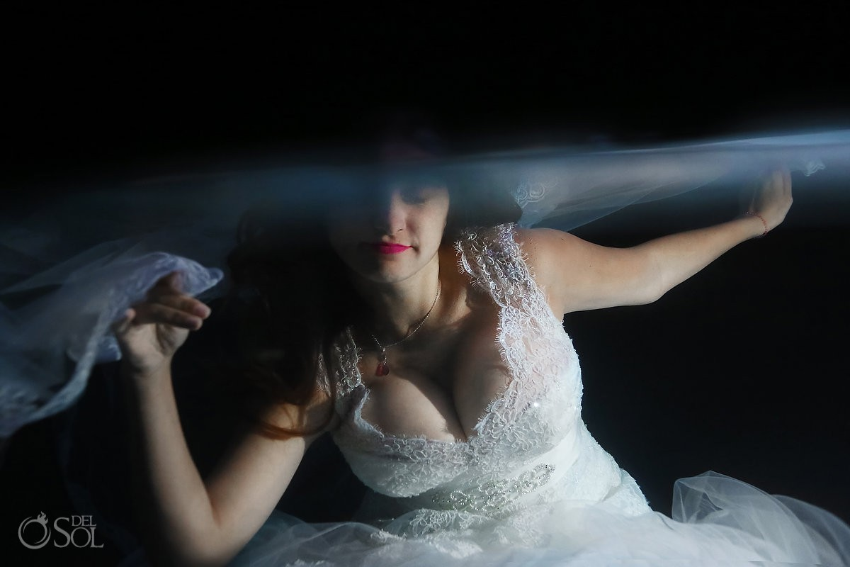 Riviera Maya trash the dress underwater bride cenote