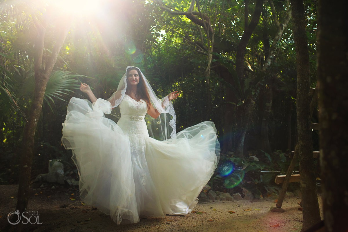 Riviera Maya trash the dress cenote jungle bride