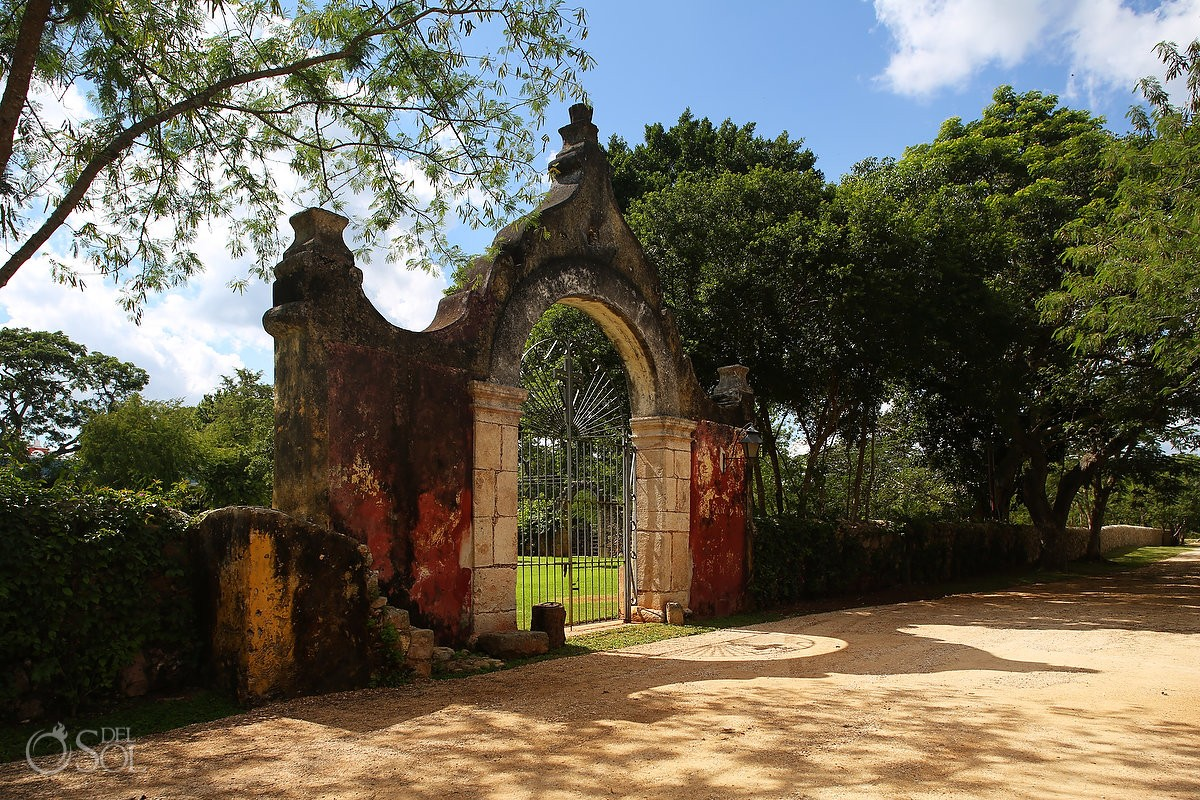 Historic arch entrance Chable Resort, Merida, Yucatan, Colonial boutique hotel