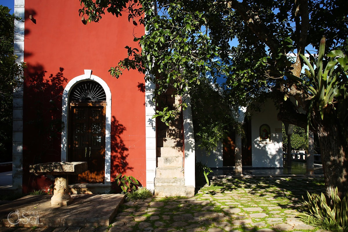 Bright Red walls in the main house at the Old Hacienda Chable Resort Merida Yucatan