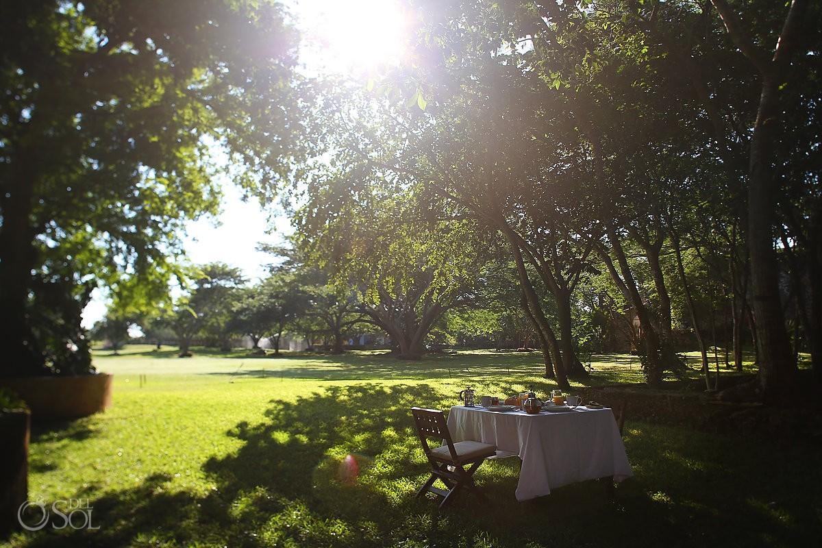 Organic breakfast at the lush gardens at Chable Resort Merida Yucatan